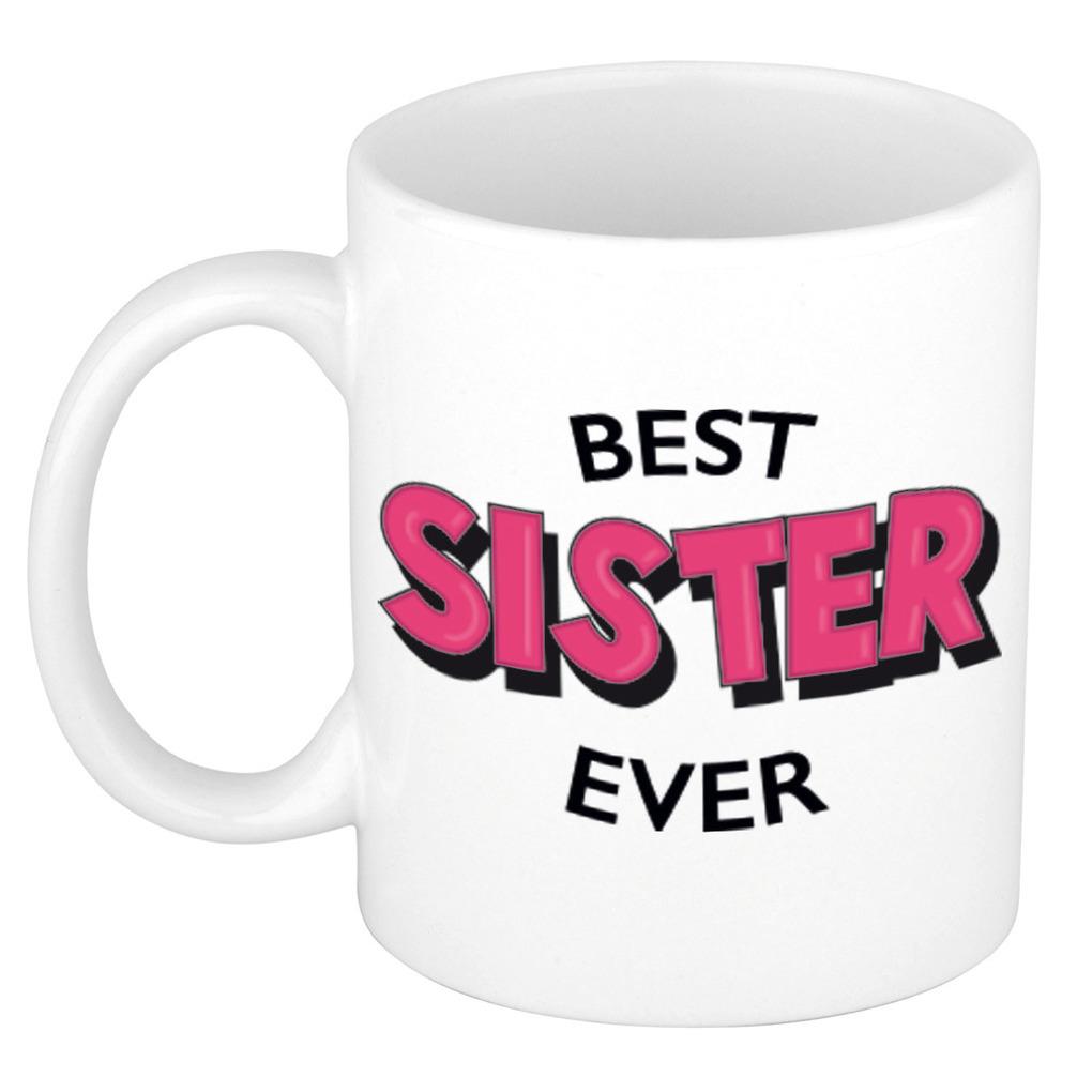 Best sister ever cadeau mok - beker wit met roze cartoon letters 300 ml