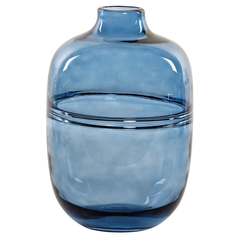 Bloemenvaas van glas blauw 17 x 25 cm