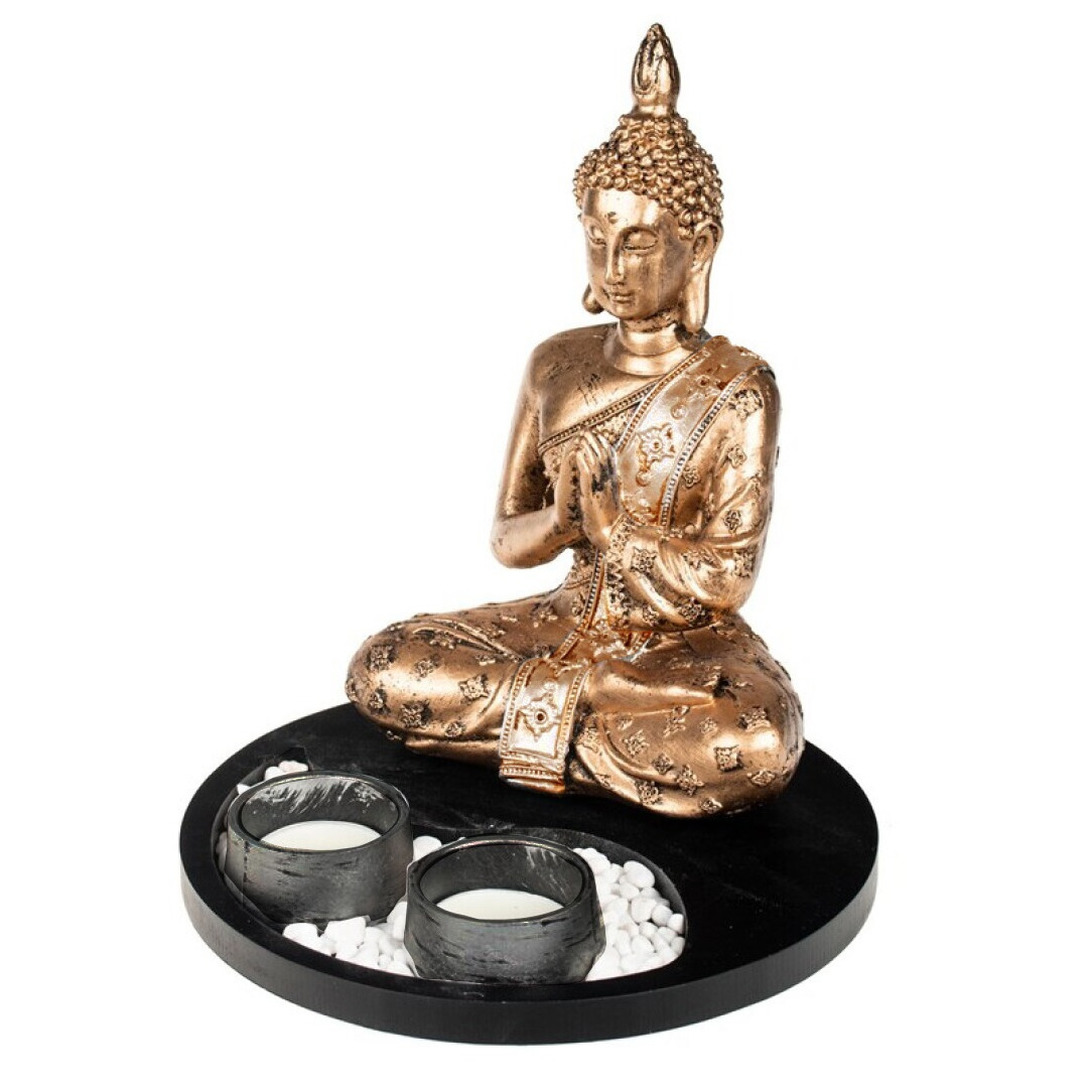 Boeddha beeld met waxinelichthouders goud/zwart voor binnen 20 cm