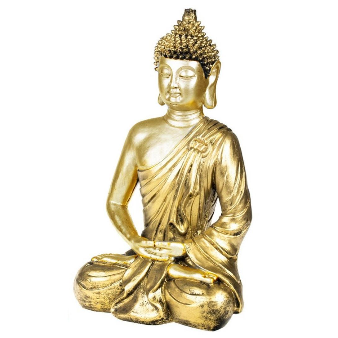 Boeddha beeld voor binnen goud 35 cm