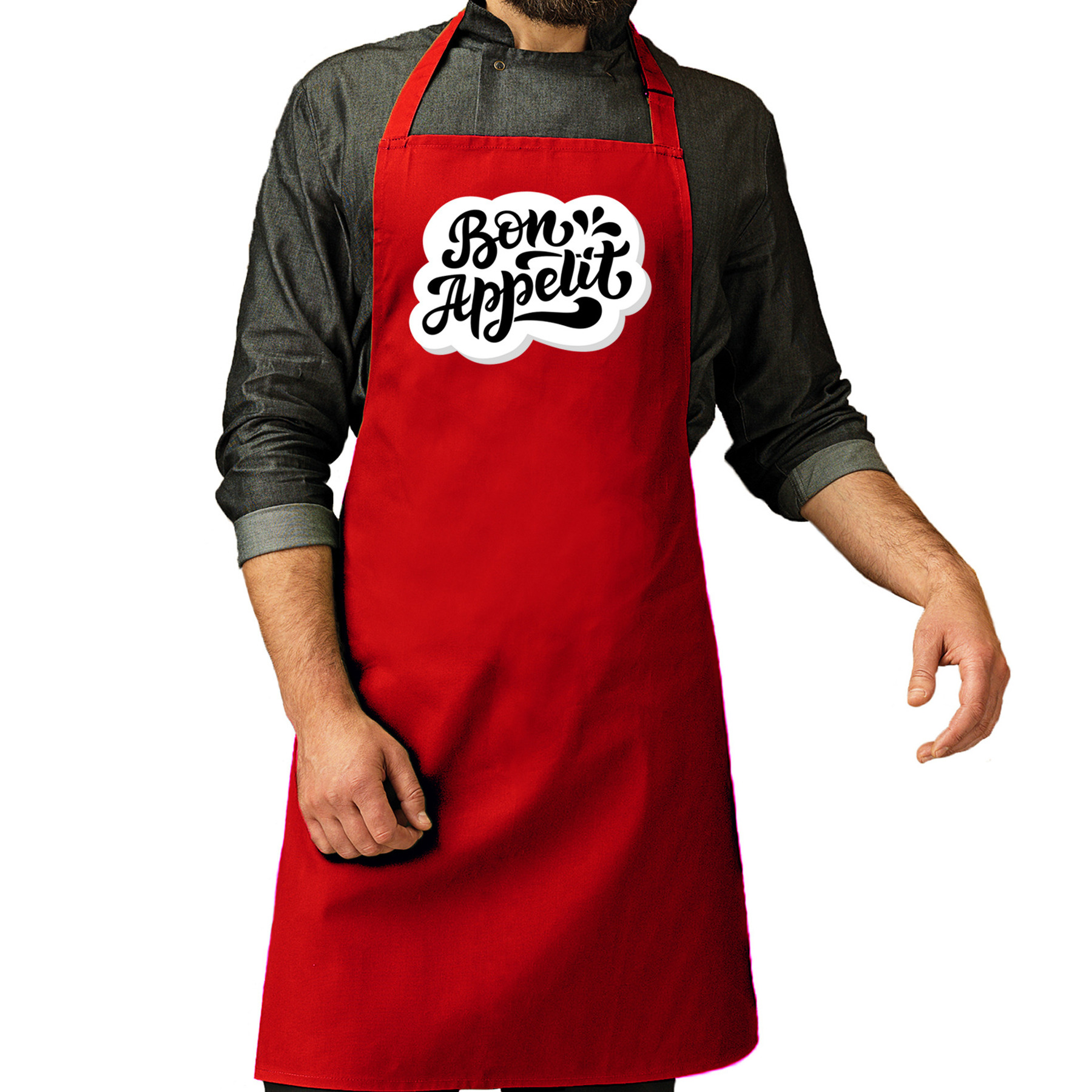 Bon appetit barbecueschort - keukenschort rood voor heren