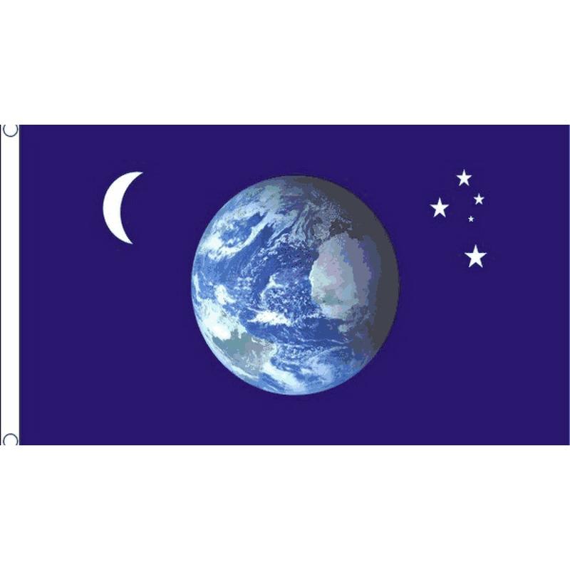 Donkerblauwe vlag met aarde, maan en sterren