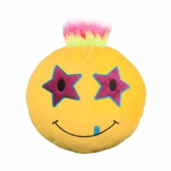 Emoticon kussen ster met kuif 35 cm