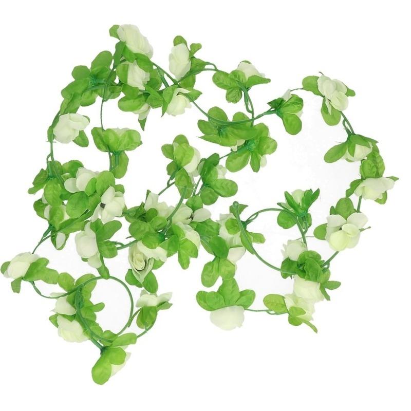 Fiets stuur versiering bloemenslinger wit groen 220 cm