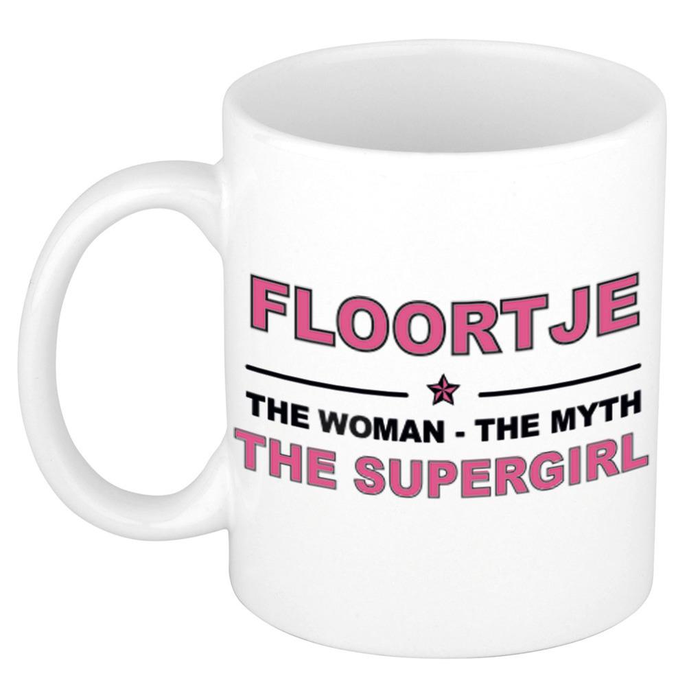 Floortje The woman, The myth the supergirl bedankt cadeau mok/beker 300 ml keramiek