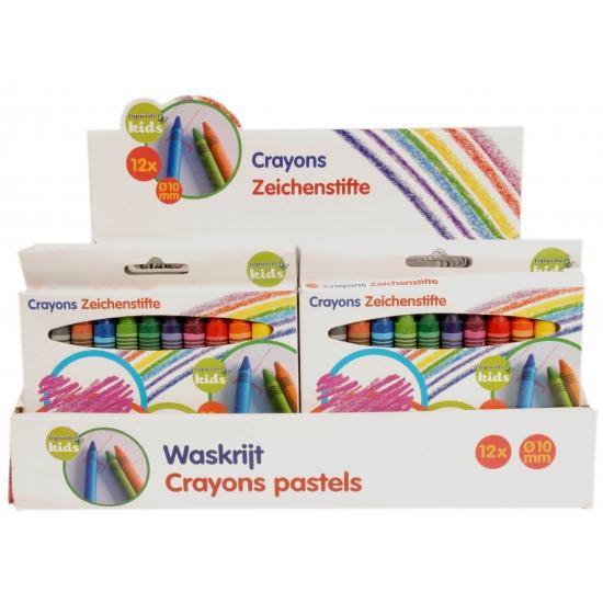 Gekleurde waskrijtjes in doosje van 12