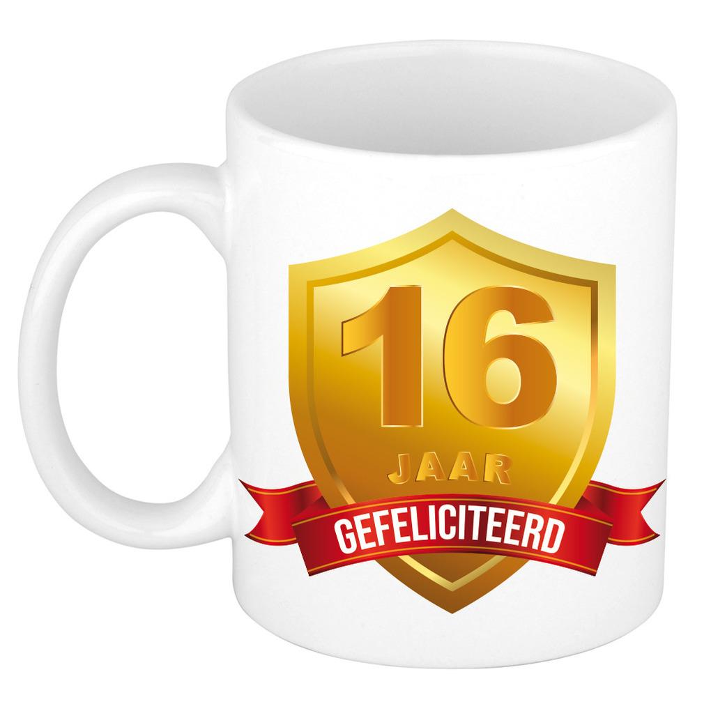 Gouden wapen 16 jaar mok - beker - verjaardag/ jubileum