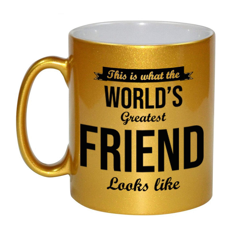 Gouden Worlds Greatest Friend cadeau koffiemok - theebeker 330 ml