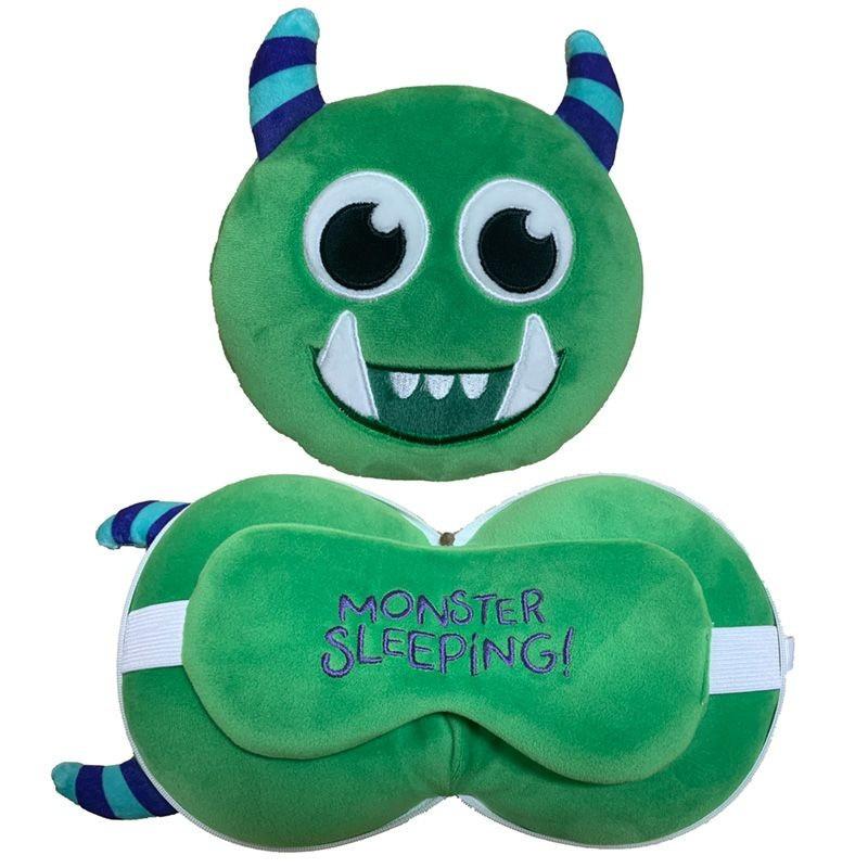 Groen monster knuffel/reiskussen/slaapmasker 3-in-1 voor kinderen