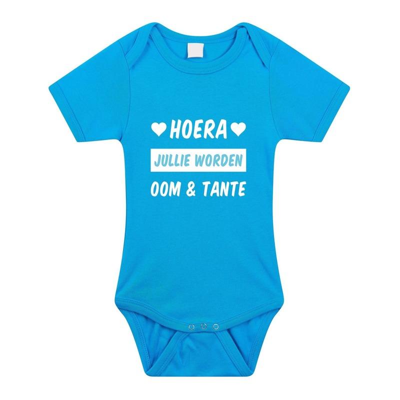 Hoera oom en tante cadeau baby rompertje blauw voor jongens