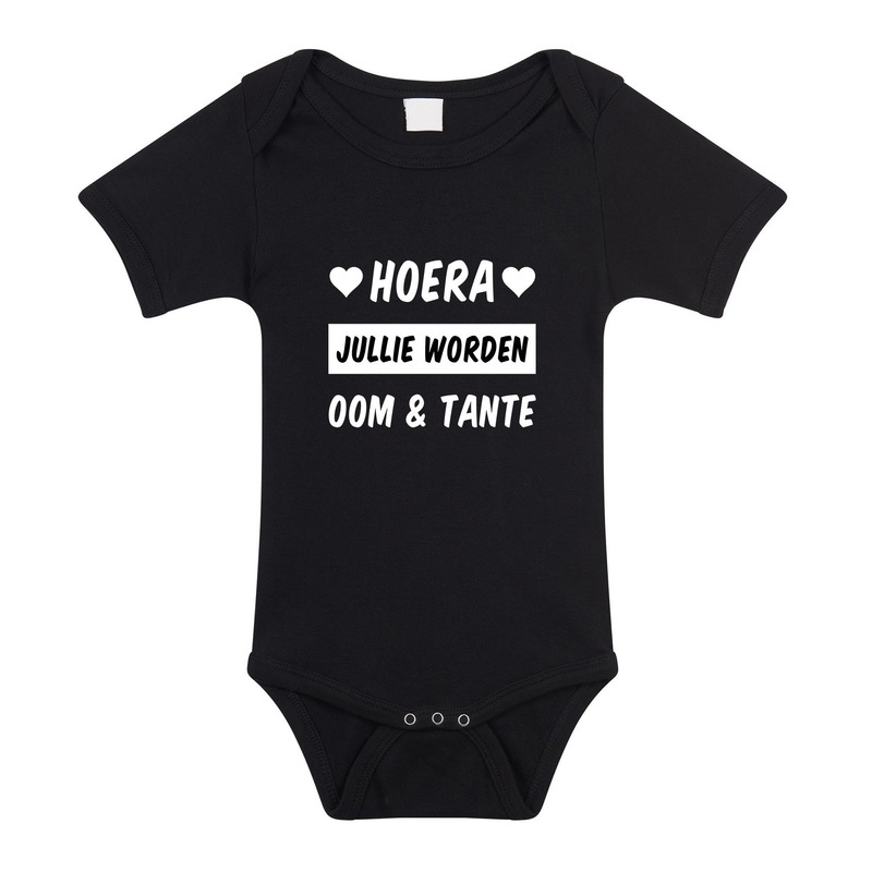 Hoera oom en tante cadeau baby rompertje zwart jongens/meisjes