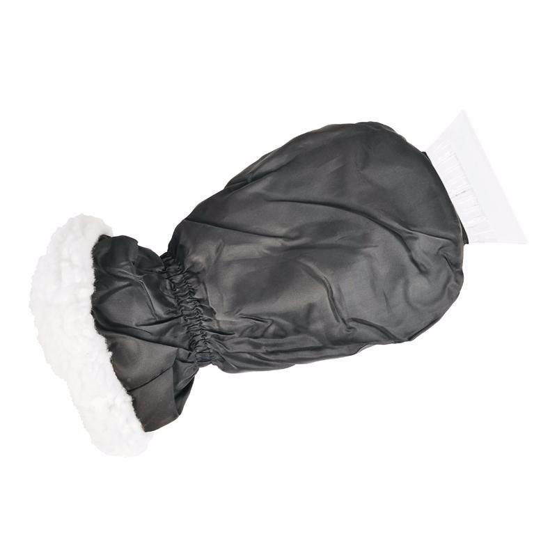 IJskrabber met zwarte handschoen