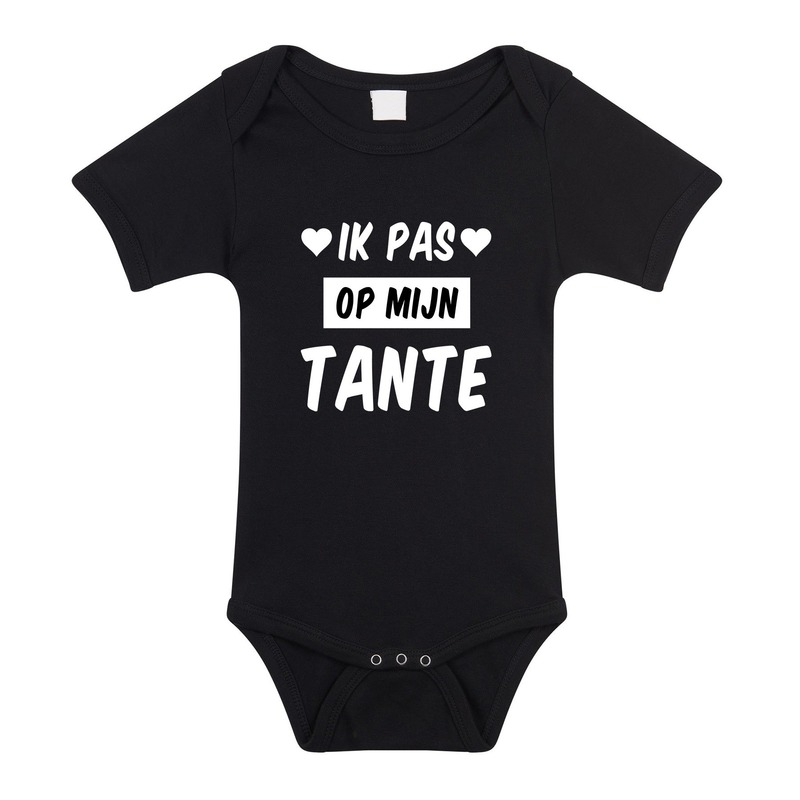 Ik pas op tante cadeau baby rompertje zwart voor meisjes/jongens