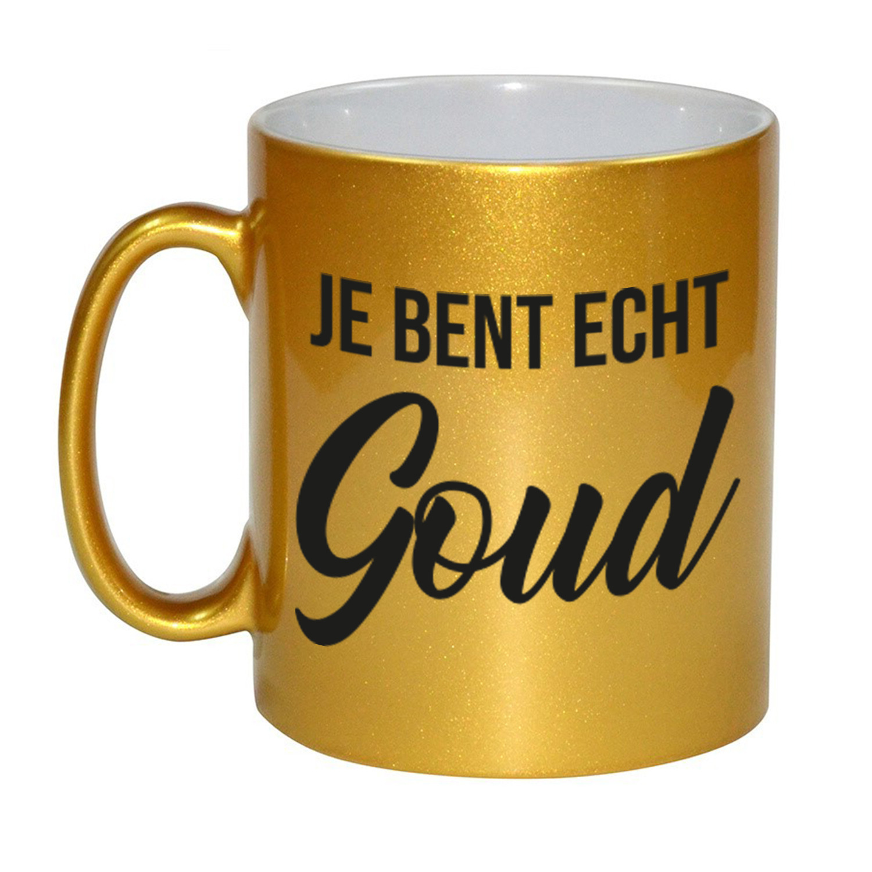 Je bent echt goud mok - beker goud 330 ml bedankt cadeau