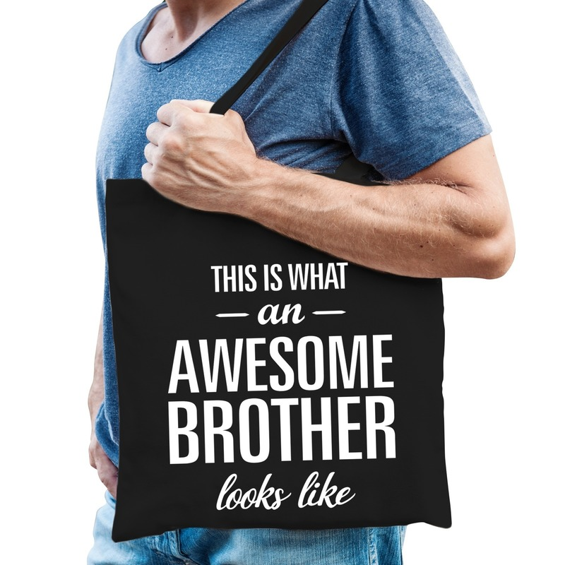 Katoenen cadeau tasje awesome brother zwart