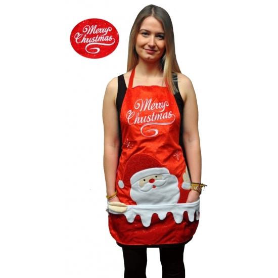 Kerstkleding schort Merry Christmas