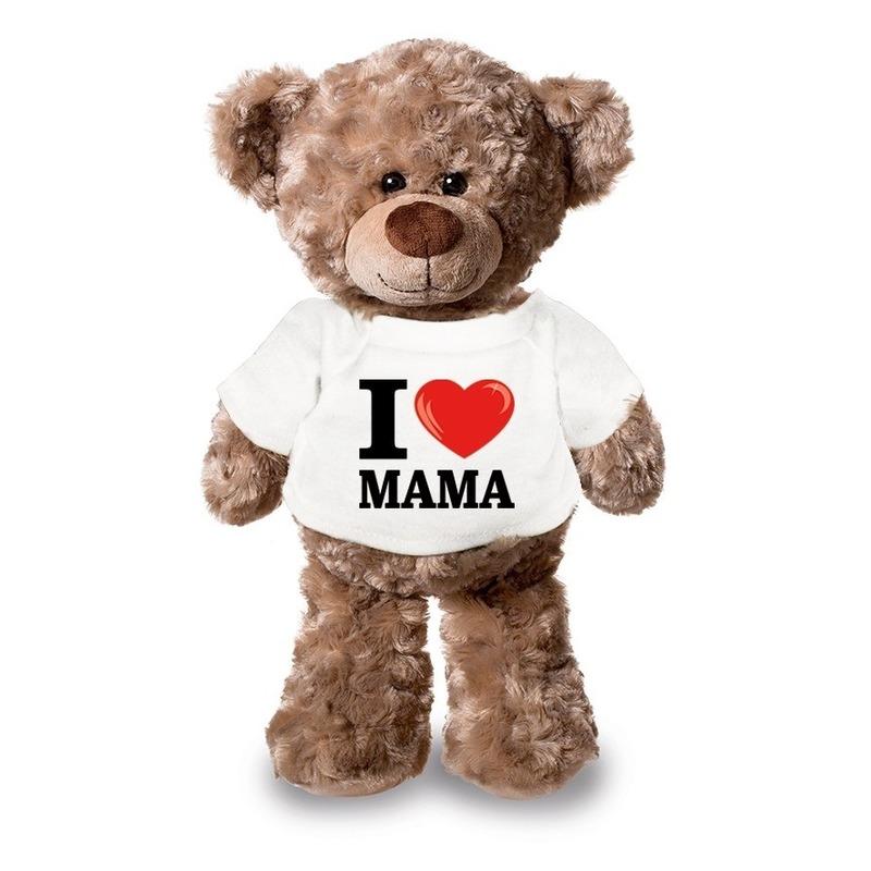 Knuffel teddybeer met I love mama shirt 43 cm