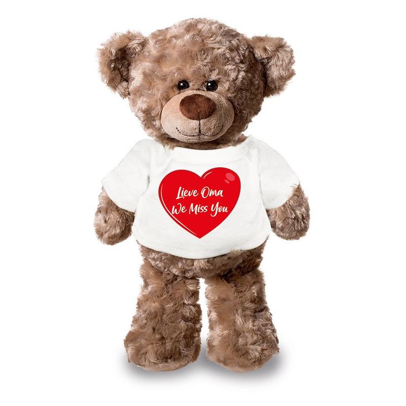 Lieve oma we miss you pluche teddybeer knuffel 24 cm met wit t-s