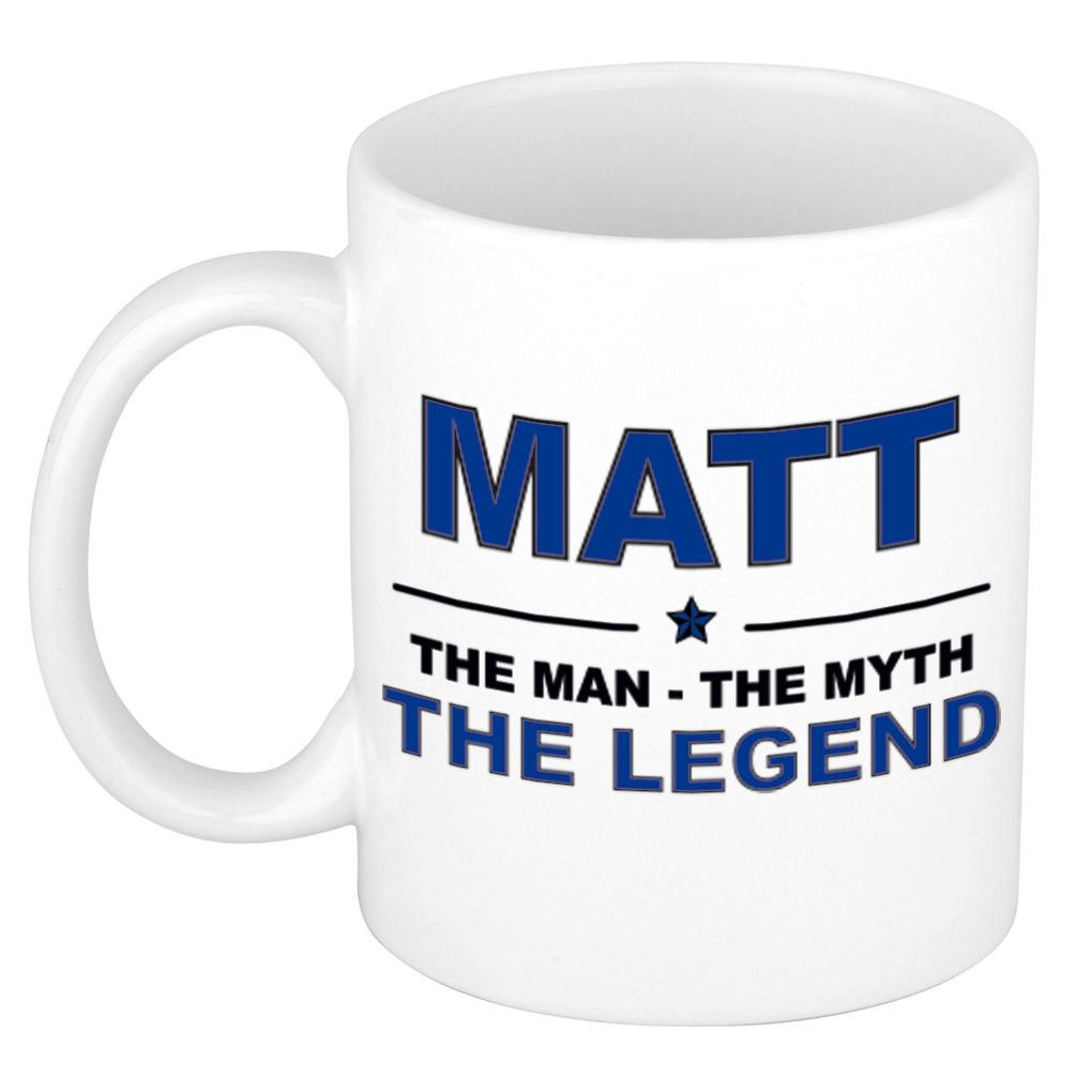 Matt The man, The myth the legend bedankt cadeau mok/beker 300 ml keramiek
