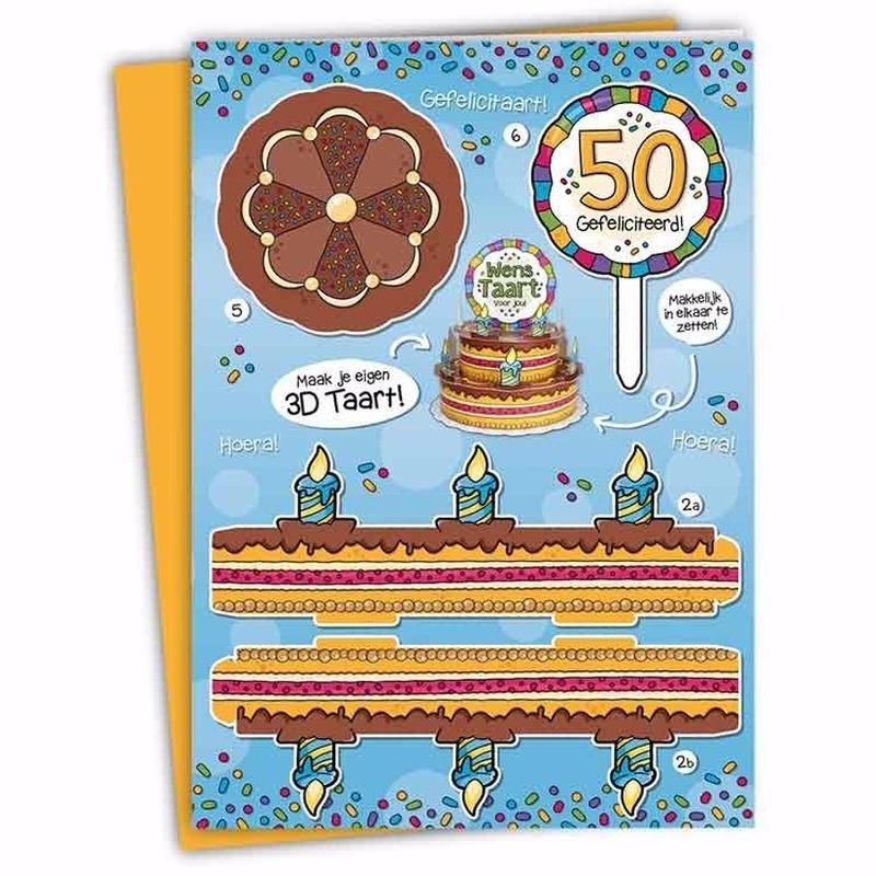 Mega 3D taart kaart Sarah 50 jaar