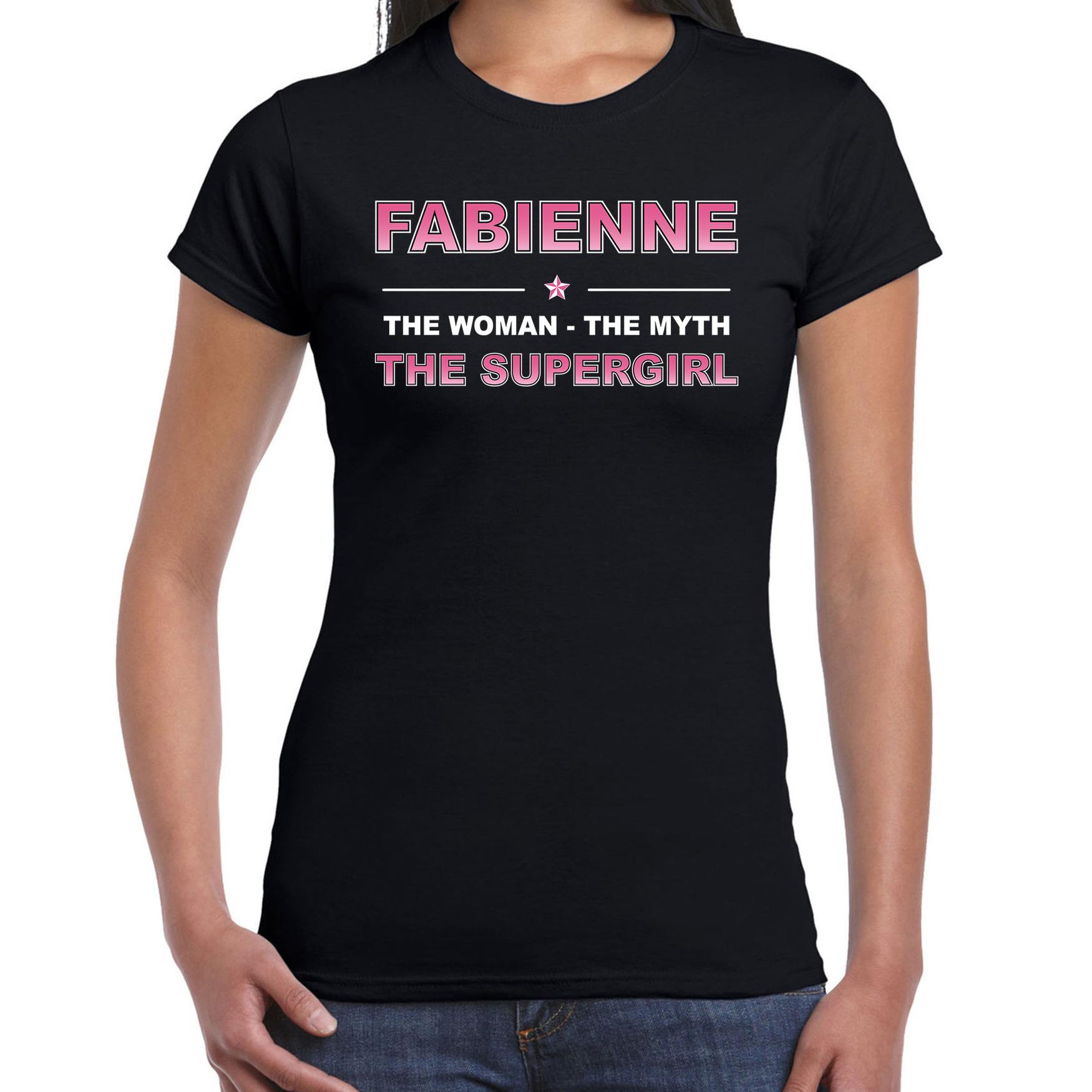 Naam cadeau t-shirt - shirt Fabienne - the supergirl zwart voor dames