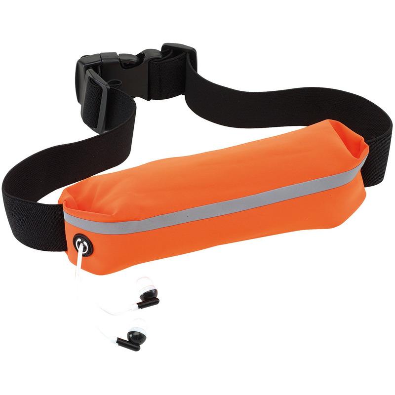 Oranje reflecterend hardloop heuptasje/buideltasje 24 x 4,2 cm