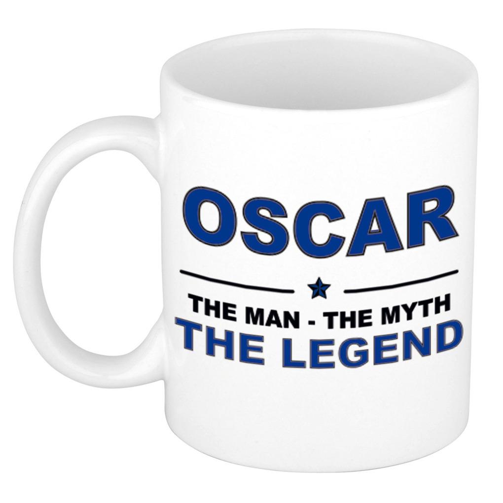 Oscar The man, The myth the legend bedankt cadeau mok/beker 300 ml keramiek