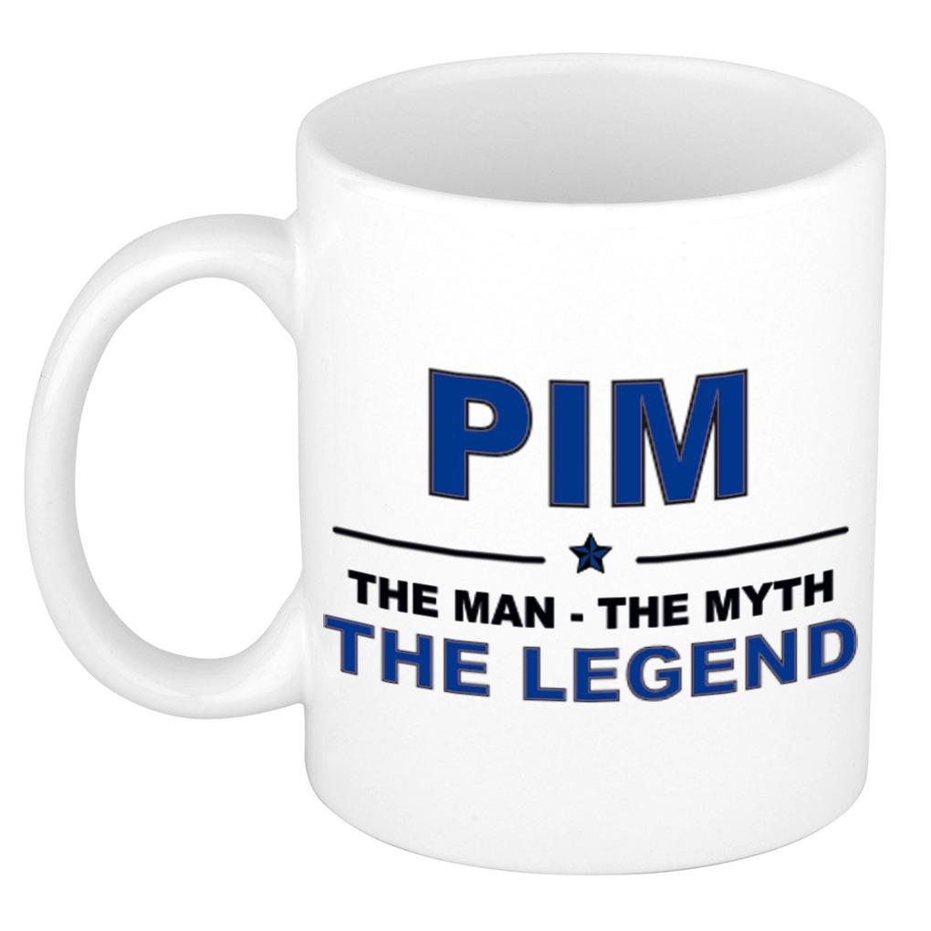 Pim The man, The myth the legend bedankt cadeau mok/beker 300 ml keramiek