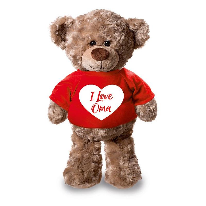 Pluche knuffel teddybeer 24 cm met I Love Oma hartje t-shirt