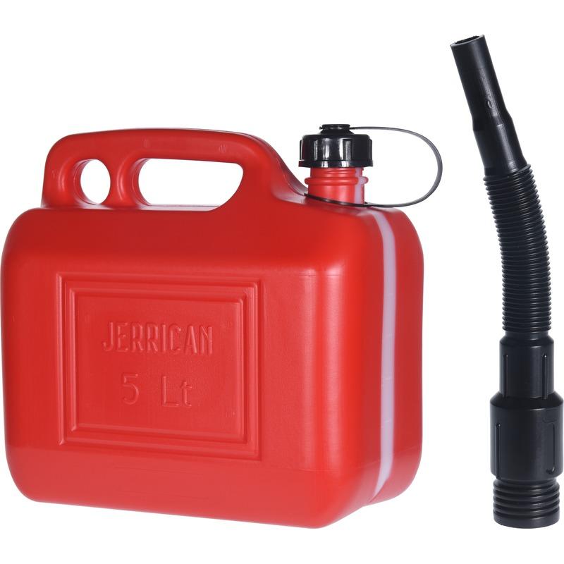 Rode brandstof jerrycan 5 liter met schenktuit