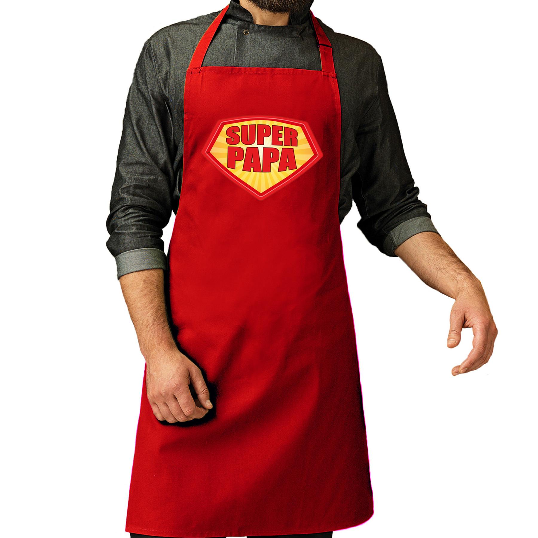 Super papa barbeque schort - keukenschort rood voor heren