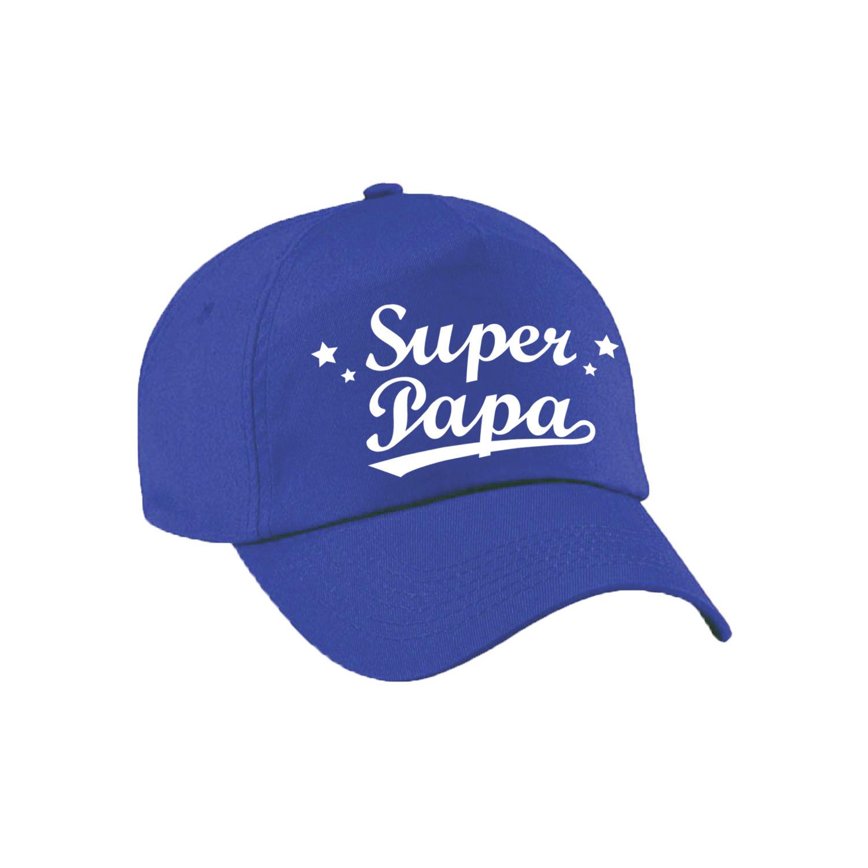 Super papa vaderdag cadeau pet /cap blauw voor heren