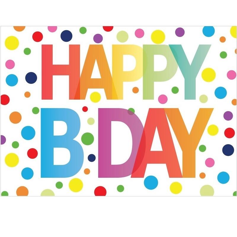 Verjaardagskaart Happy Birthday met gekleurde stippen