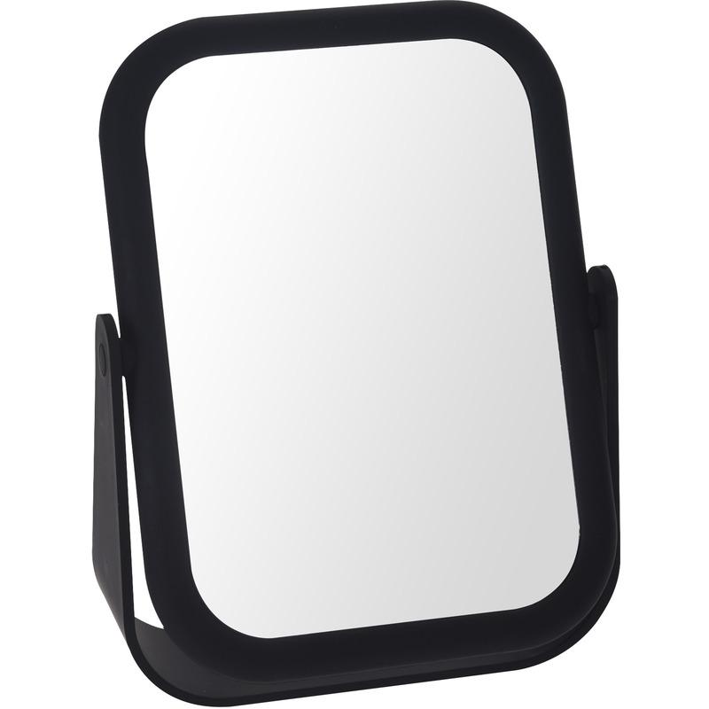 Zwarte make-up spiegel dubbelzijdig 18 cm