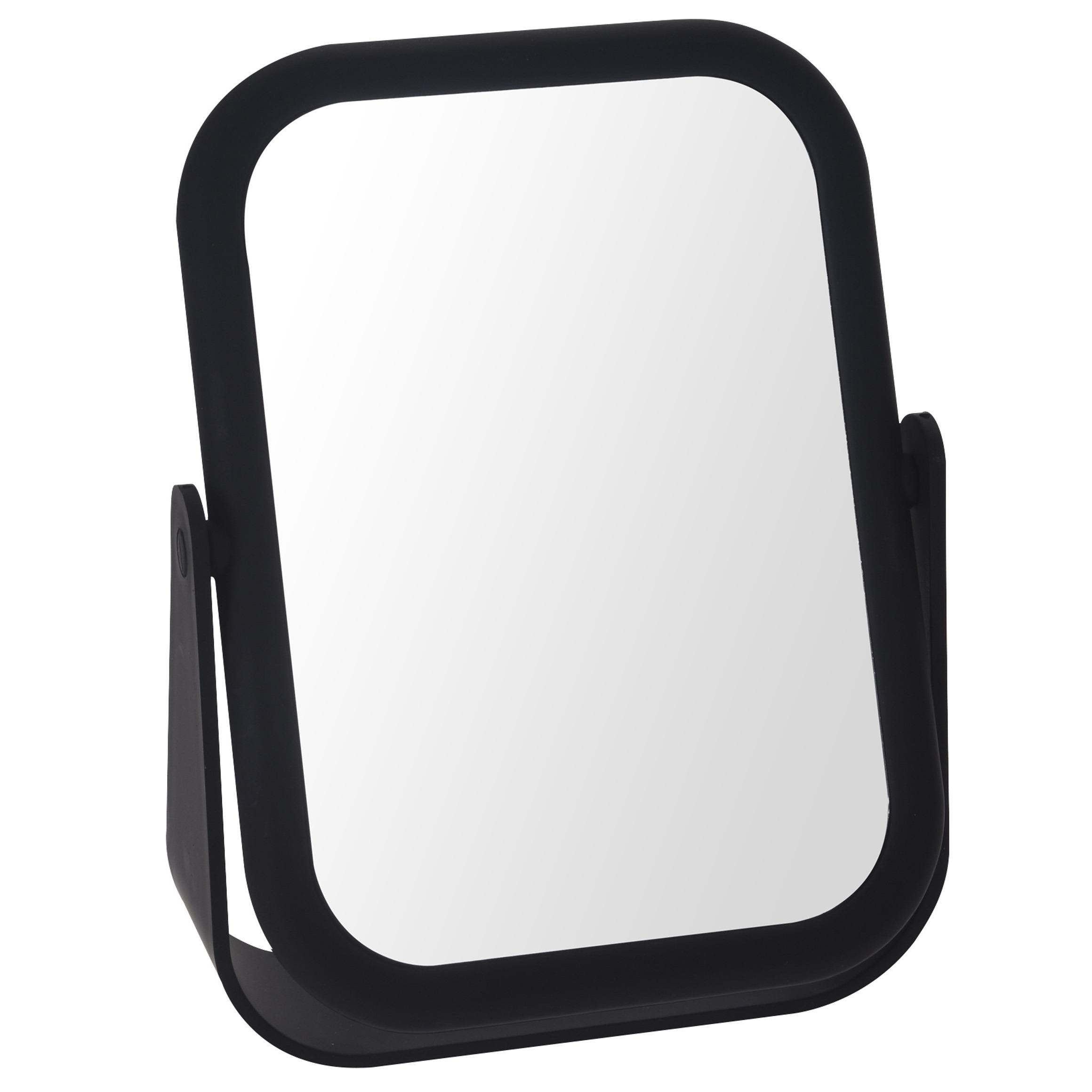 Zwarte make-up spiegel rechthoek dubbelzijdig 15 x 21 cm